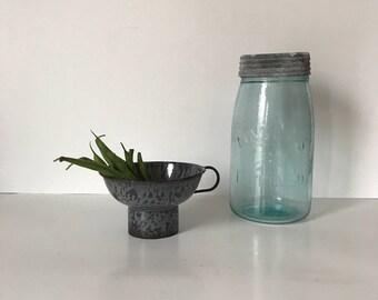 Gray Enamelware Funnel * Gray Graniteware Funnel *  Gray Canning Funnel * Vintage Enamelware * Antique