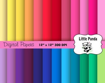 80% OFF SALE Rainbow Solids Digital Scrapbooking Papers 24 jpg files 12 x 12 - Instant Download - D191