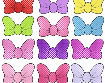 60% OFF SALE Minnie Mouse Bows Digital Clip Art - Personal and Commercial Use - Instant Download - D333