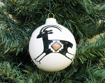 Hand-painted Southwestern Antelope Ceramic Holiday Christmas Ball Desert Southwest Ornament #865C