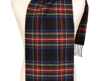 Black Stewart 100% Lambswool Scarf - Made in Ireland