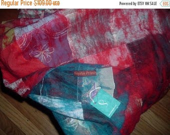 ON SALE Sophie Prieur iconic Textile artist handmade felted shawl/blanket~One of a kind!!! with tag