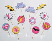 SUPERGIRL!  Girl Superhero Birthday Party!  Girl Power!  Set of 12 Cupcake Toppers!