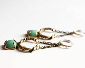 Green aventurine earrings, boho earrings, sterling silver hoops, petal earrings, crystal earrings, gift for her, wreath jewelry, bohemian