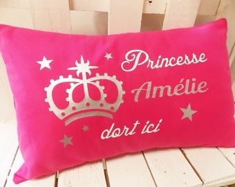Personalized Princess pillow pattern sequin - handmade - 100% cotton