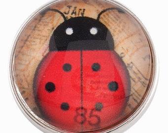 C0208  Art Glass Print Chunk - Lucky Ladybug