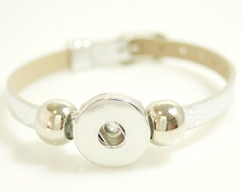 """KB0995  1/4"""" Wide Metallic Silver Textured Adjustable Buckle Bracelet with Silver Accents for Snap-It Charms ~ Fits Up To 7.25"""""""