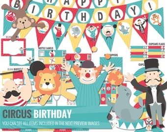 Carnival Birthday Decorations Package. Printable Circus Kids Birthday Party Decor. Cute First Birthday. Instant Digital Download