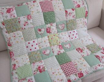 Handmade  Patchwork Cot Quilt - Play Mat