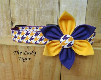 Purple and Gold, LSU Team Pride - The Lady Tiger Flower Dog Collar Set