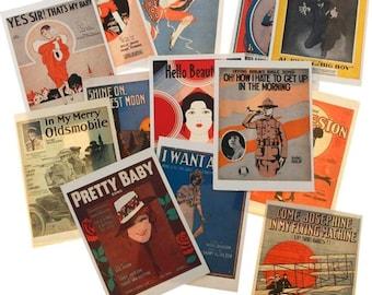 American Quartet - I Want a Girl, Nostalgic Song Sheets Postcards, Popular Screen, Radio & Recording Artist, Von Tilzer and Dillon