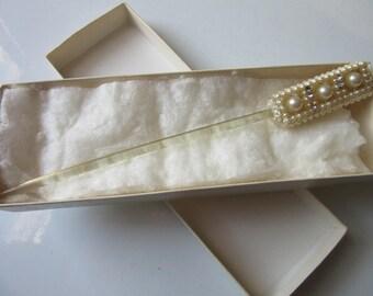 Vintage Faux Pearl Plastic Hair Stick Accessory