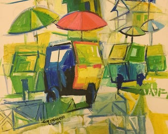 African Painting. Urban life 2. Acrylic Painting On Canvas Board.