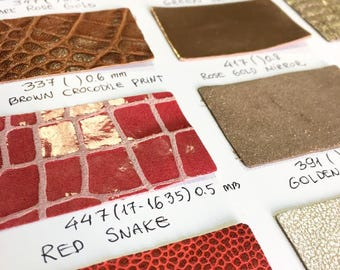 Leather swatches, genuine naked lambskin leather swatches, leather samples, sold per piece, leather fabric swatches, real leather pieces