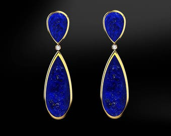 LAPIS-LAZULI & DIAMOND Drop Stud Earrings