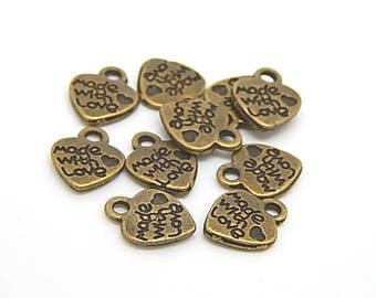 "Heart charms engraved ""Made with love"" color bronze12x9mm"