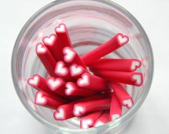 10 canes fimo nail art heart shaped pink 50mm
