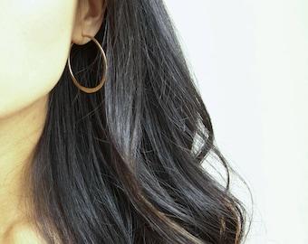 """1"""" Hammered Gold Filled Hoop Earrings (EH3)"""
