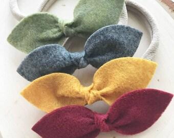 Set of 4 - Felt Knot Bows - Fall -Autumn - Nylon Headband - One Size Fit All - Photo Props - Baby Headband - Infant  - Baby Bows