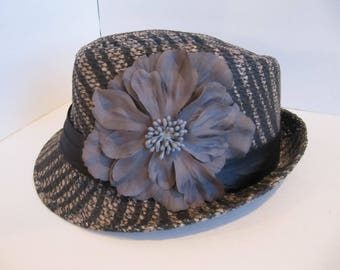 Fedora, Grey Fedora, Zebra Strip Hat, Stripped Fedora, Easter Hat,  Womens Hat, Bling Hat, Fashion Hat, Mothers Day Hat