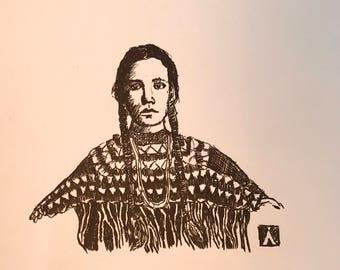 KillerBeeMoto: Original Pen Sketch of Cheyenne Woman