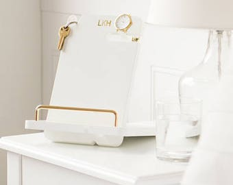 Gold Embossed White Lacquer Docking Station