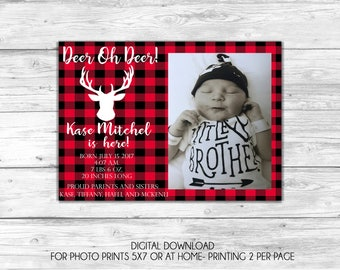 Deer-Lumberjack Baby Boy Birth Announcement