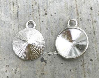 TierraCast Rhodium Settings Fits Swarovski Crystal 12mm 1122 Round Rivoli