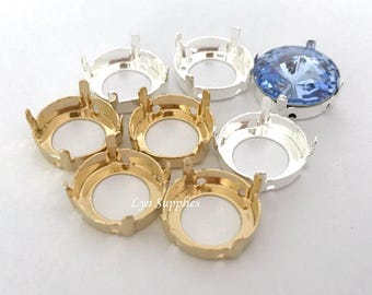 Round Sew-On Settings With Holes Fits Swarovski Crystal Rivoli 12mm or 14mm, Gold / Silver Plated 8 pieces