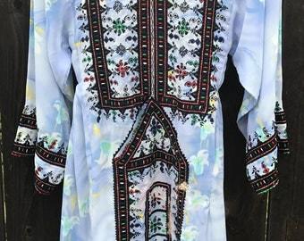 Pretty Blue Chiffon Afghani Dress