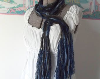 Skinny Scarf Crochet Blue Brown Lightweight Neck Wrap Neutral Casual Boho Fringe