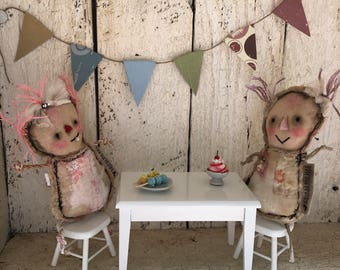 Original  Art Doll - Upcycled Antique Quilt