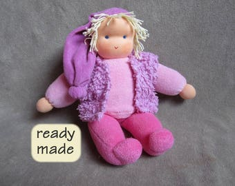 Waldorf doll 'Loetje'. Doll for children, natural material, length: 35 cm (13.8 inches)
