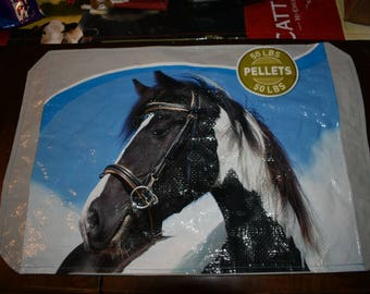 Recycled Feedsack Placemats for kitchen table horse/paint horse country/farm/cottage/decor