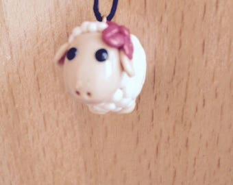 SHEEP POLYMER CLAY WHITE WITH RED FLOWER PENDANT