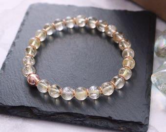 Citrine Bracelet * November Birthstone * Gift for Her * Citrine Jewellery * Meditation Yoga * Rose Gold * Stretchy Bracelet * Chakra Jewelry