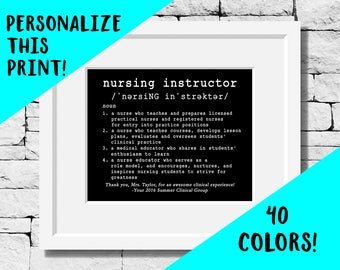 Personalized Nursing Instructor Gifts, Personalized Nurse Instructor Gift, Nursing Instructor Quotes, Nurse Instructor Prints, Nursing