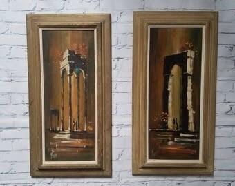 Pair of Mid Century Burr art