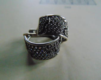 Vintage.Earrings silver 925.With crystals. Made In Russia