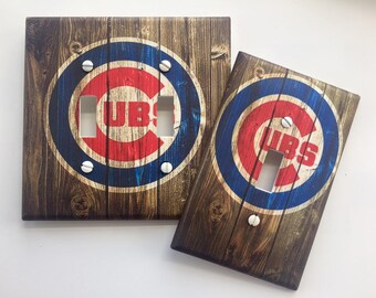 Chicago Cubs baseball MLB sports fan vintage rustic brown Light switch cover SAME Day SHIPPING!! **