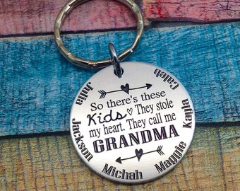 So There's These Kids... Custom Engraved Key chain, So there's these kids, they stole my heart, they call me Grandma, they call me Mom
