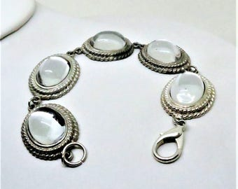 Mystical Bracelet - Vintage, Silver Tone, Clear Cabochons, Lobster Claw Closure