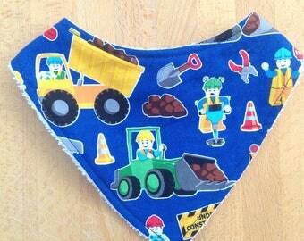 Construction themed baby dribble bib, bandana bib, blue