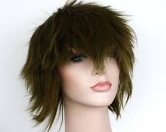 Christmas wig Sale. Swamp short spiky green wig. ready to ship. New Year's Eve party wig. Christmas party hair.