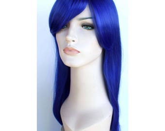 Christmas wig Sale. Blue straight long wig. synthetic hair. New Year's Eve party wig. Made to order.