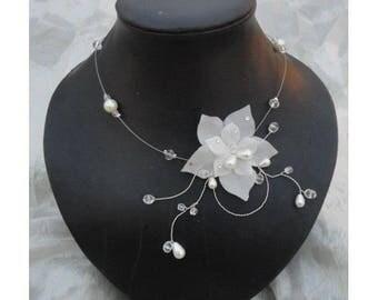 Collier mariée mariage soirée Fleur de soie ivoire Amour  Necklace wedding evening ivory silk flower Amour bridal bride