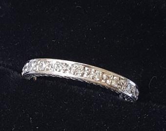 Diamond Full Eternity Ring 18ct White Gold 0.45ct Diamond Content