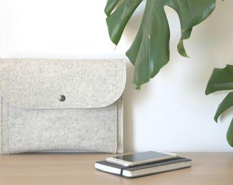 "Felt iPad Sleeve with Flap and Pockets -  Felt for 9.7"" iPad Pro/Air and 10.5"" iPad Pro and I Pad - Made in Italy"