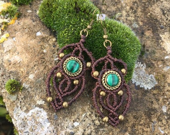 Macrame earrings malachite with a bronze setting - color brown