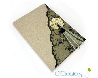 Guestbook wedding black lace and linen